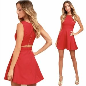 Lulu's Just Us Red Skater Dress - Size Large